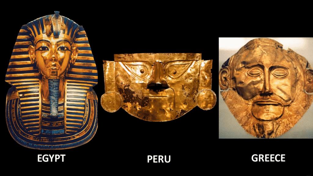 Une similitudes entre civilisations anciennes, les masques funéraires