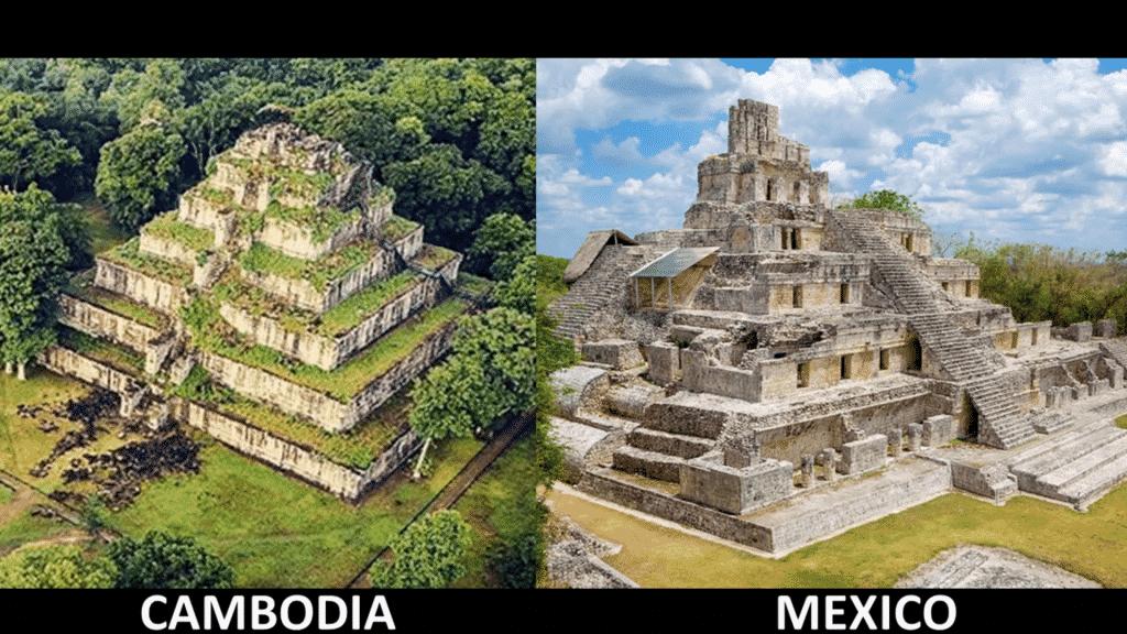 parmi les similitudes chez les civilisations anciennes, il y a la forme des pyramides