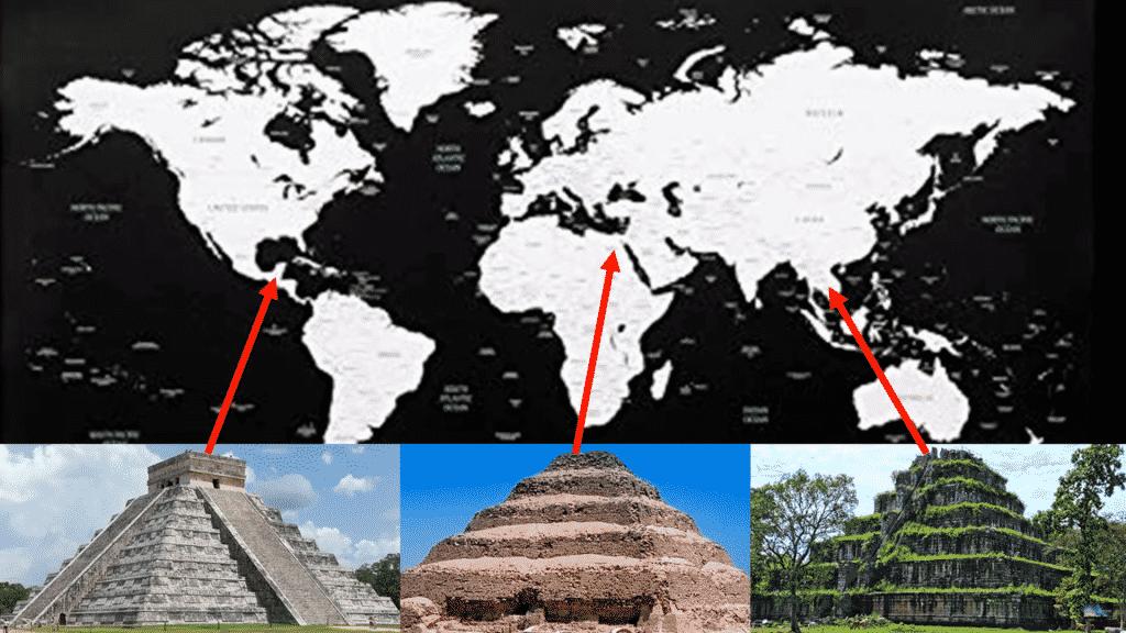 la même architecture de pyramide sur trois continents