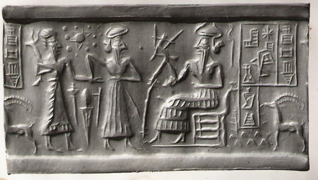 tablette sumérienne représentant les dieux et l'élevage
