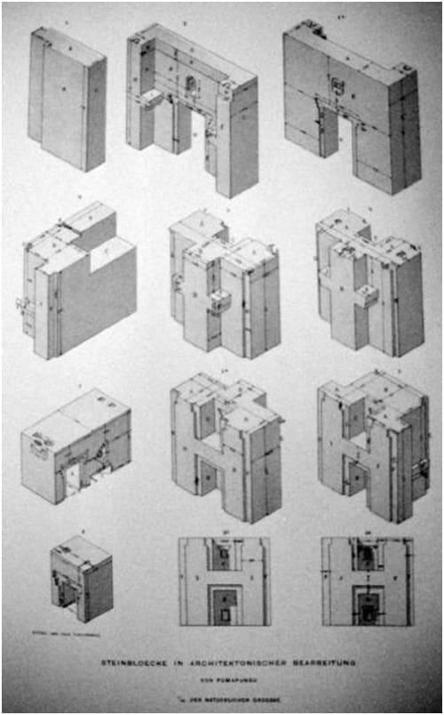 Les différents bloc de pierre de Puma Punku.