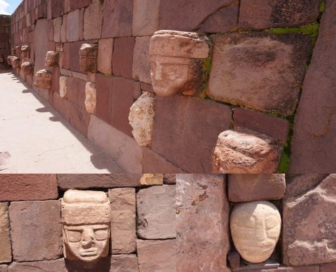 Galerie de portrait sur mur du temple de Kalasasaya a Puma Punku