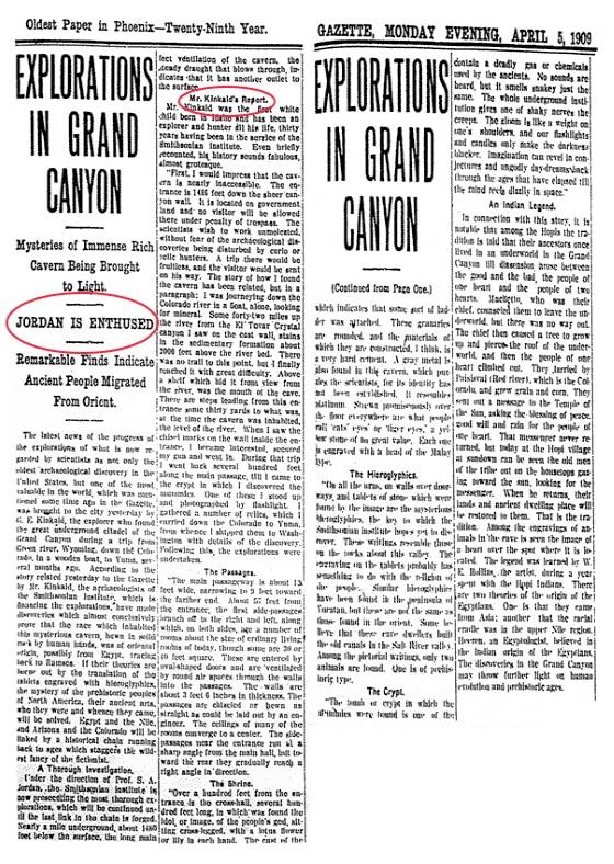 Archéologie interdite, Article Arizona Gazette découverte de Kinkaid