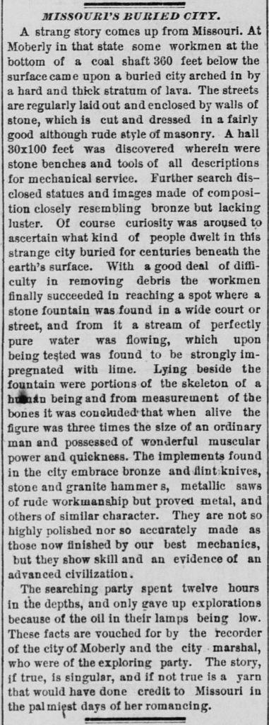 Archéologie interdite, Article de New York Time de 9 avril 1885 sur la découverte d'une ville souterraine.