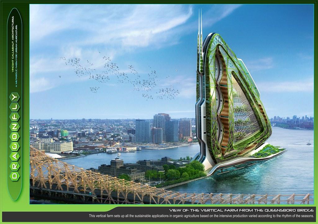 Cette fermes urbaines verticales s'inspire des ailes de libellules