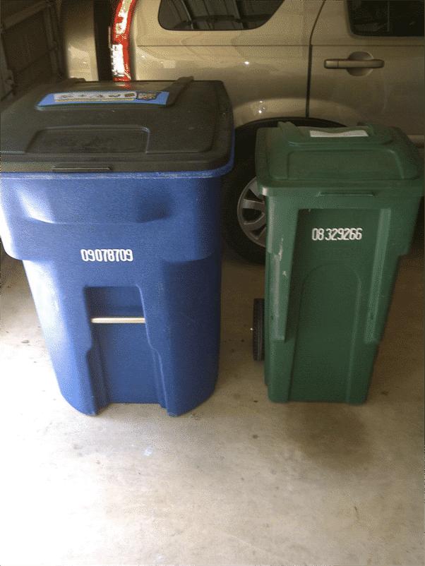 différentes taille de poubelles pour inciter le comportement