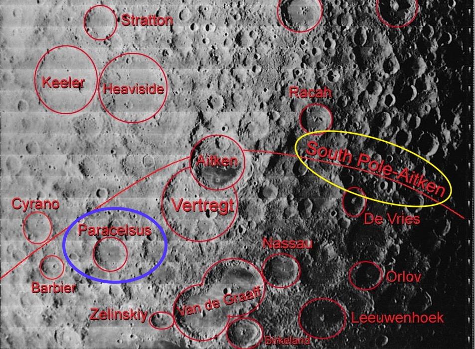 position des différents cratères lunaire