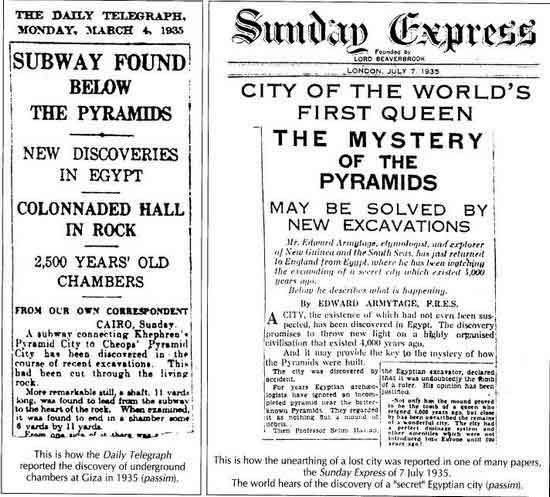 Article de presse sur la découverte de tunnels sous le plateau de Gizeh en 1935