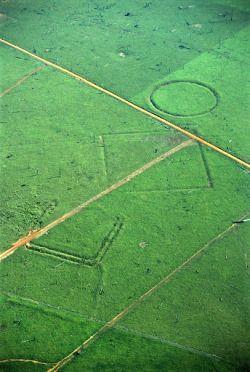 formes géométriques découvertes en Amazonie lors de la déforestation.