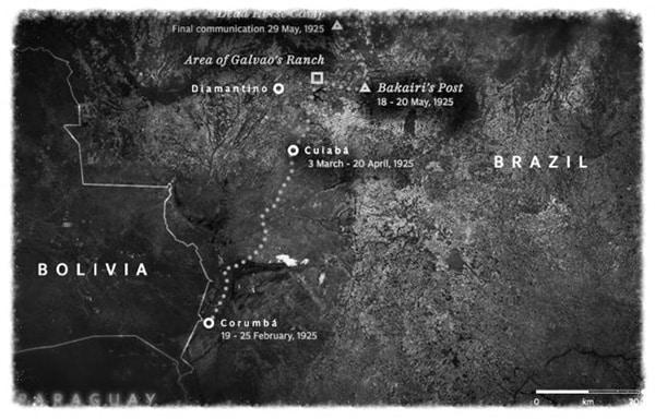 La carte du dernier trajet de Percy Fawcett lors de sa quête vers la cité perdue de Z