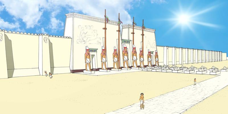 Illustration du Temple de Memphis, lieu ou l'on reconstituait les étapes de l'expérience de mort imminente lors de rituels sacrés.