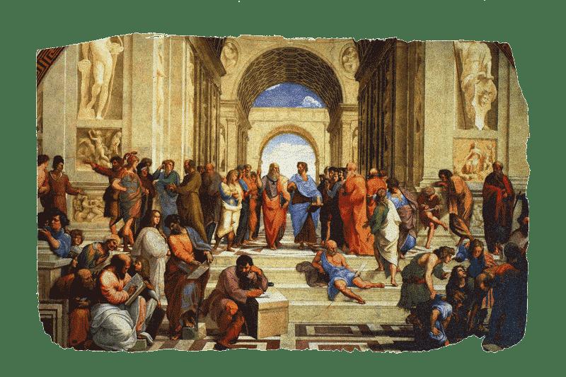 Illustration de l'école néoplatonicienne d'Athènes, un lieu d'enseignement et d'échanges d'idées.