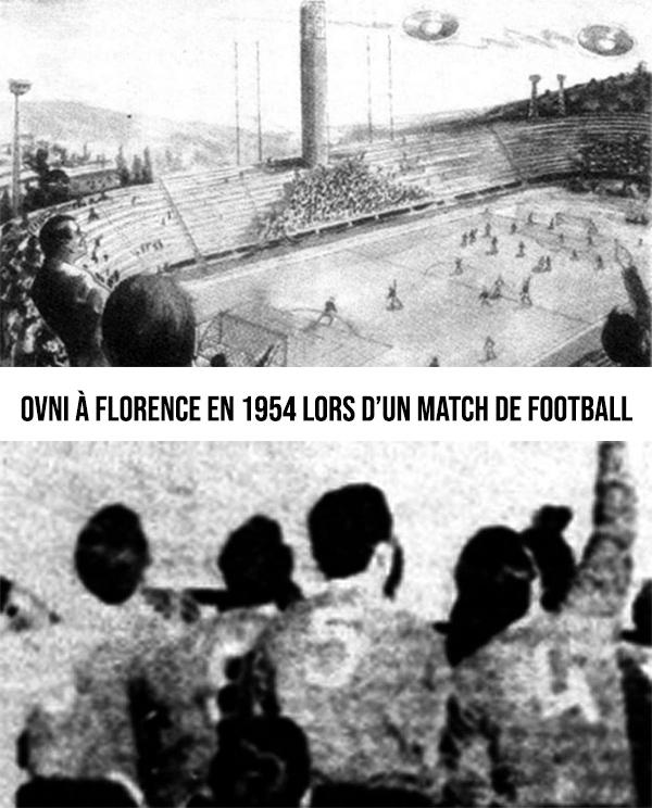 Observation d'ovnis au Stade de foot de Florence en 1954