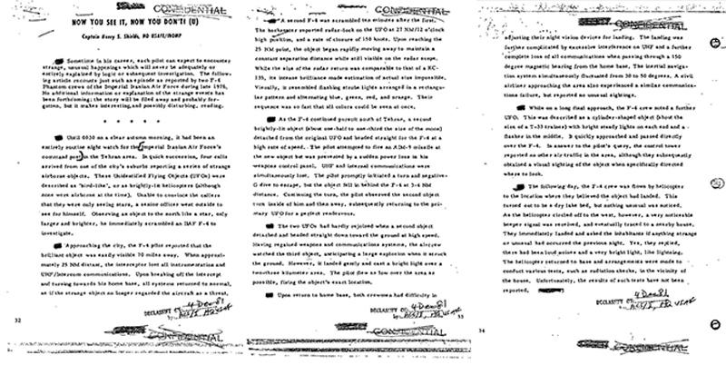 Le rapport déclassifié de l'affaire ovni de Téhéran