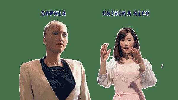 Les intelligences artificielles Sophia et ChihiraAico