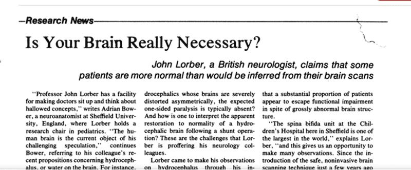 article de John Lorber sur la mémoire